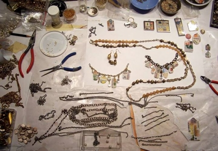 My work table with jewelry projects in progress.