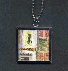 Key collage necklace with 1.5 x 1.5 pendant.