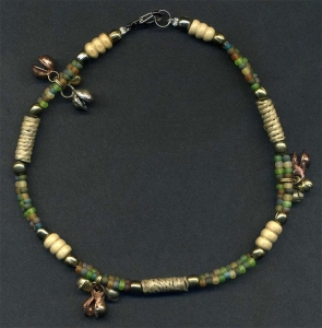 Rain forest ankle bracelet with bells.