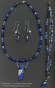 Blue, black and silver jewelry.