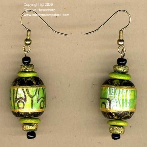 Earrings made from recycled car seat beads.
