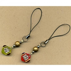 Route 66 cell phone charms made of rubber stamped shrink plastic..