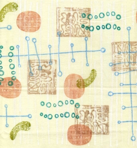 Here is some fabric I printed in a Mid-Century Modern style with rubber stamps from my Carolyn's Stamp Store collection. The ink I used is white fabric paint plus ColorBox Crafter's ink.
