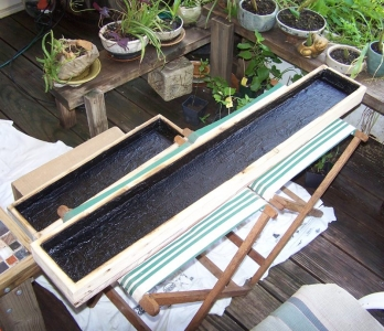 I made these wooden plant trays for displaying live plants in ceramic pots at shows. This picture shows the step where I lined the insides with roof cement for waterproofing. I later found out that the roof cement would get sticky in hot weather, so I lined the bottoms with faux sea glass pieces later to protect the pots. When I'm not at a show, these will double as plant shelves in my home.