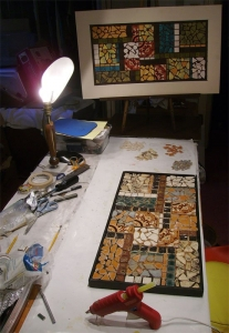Testing out a mosiac idea with paper and then remaking it with handmade ceramic tiles.