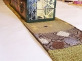 Table runner made from recycled upholstery samples to go with mixed media box.