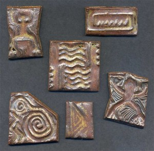 Ceramic Tiles Impressed with Hand-Carved Rubber Stamps