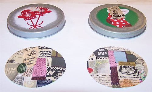 Circles of collaged cardstock ready to glue onto lids