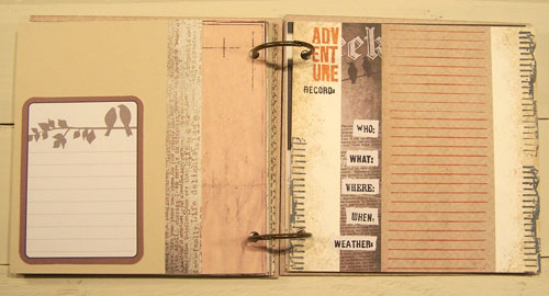 A set of inside pages. On the left is a Project Life card and on the right are rubber stamps from 7gypsies and Carolyn's Stamp Store. Patterned papers are from 7gypsies.