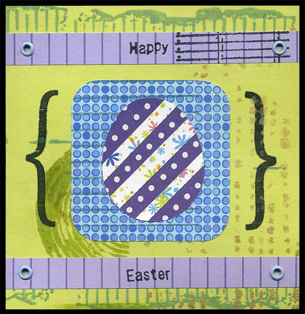 Easter card with rubber stamped and stenciled decoration