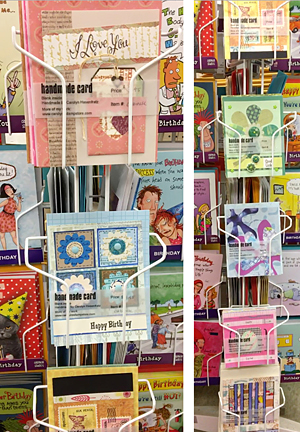 Carolyn's cards on the rack at Schnarr's Ladue
