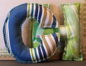 Kid's Hand Sewn Initial - samples by Carolyn Hasenfratz