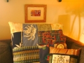 Some of the fabric I printed ended up in these two pillows. The other fabric was mostly upcycled fabric samples. The print and ceramics seen in this picture are my work also.